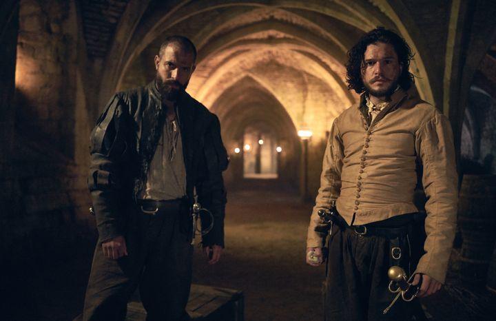 "Tom Cullen (left) with Kit Harington in ""Gunpowder."""