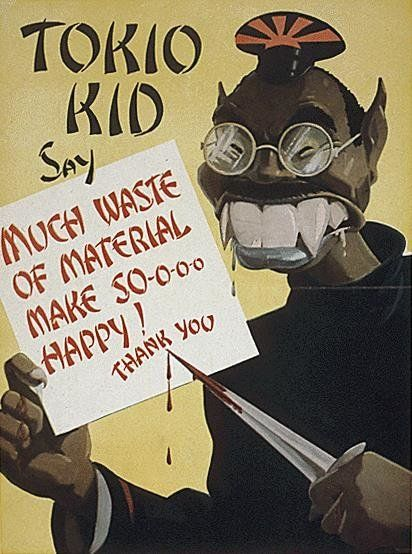 "Propaganda artwork depicting ""Tokio Kid,"" a Japanese-inspired character meant to perpetuate stereotypes that Japane"