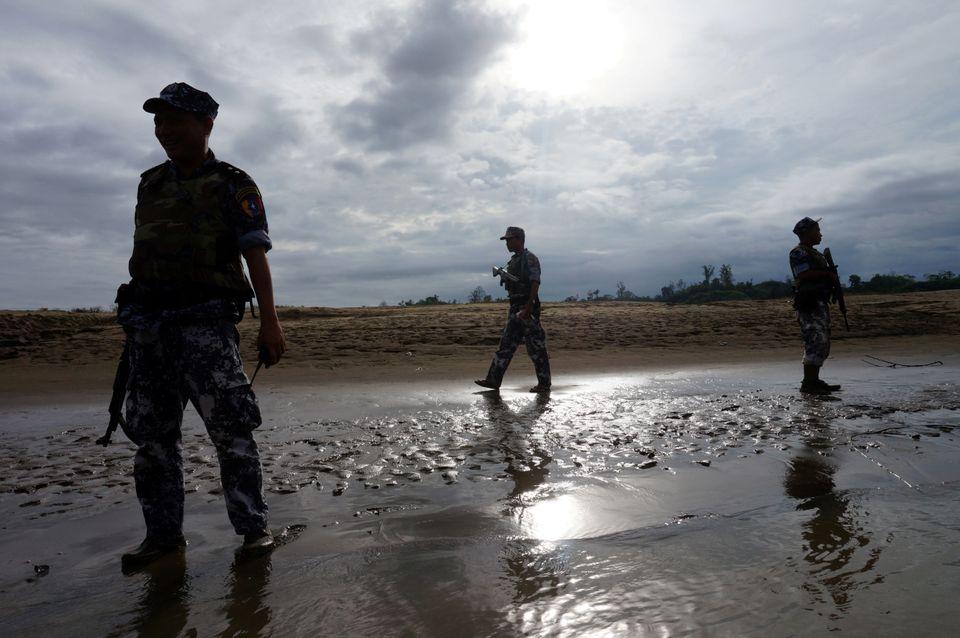 Myanmar's border police stand guard in Rakhine