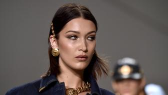 MILAN, ITALY - SEPTEMBER 22:  Bella Hadid walks the runway at the Versace show during Milan Fashion Week Spring/Summer 2018 on September 22, 2017 in Milan, Italy.  (Photo by Jacopo Raule/Getty Images)