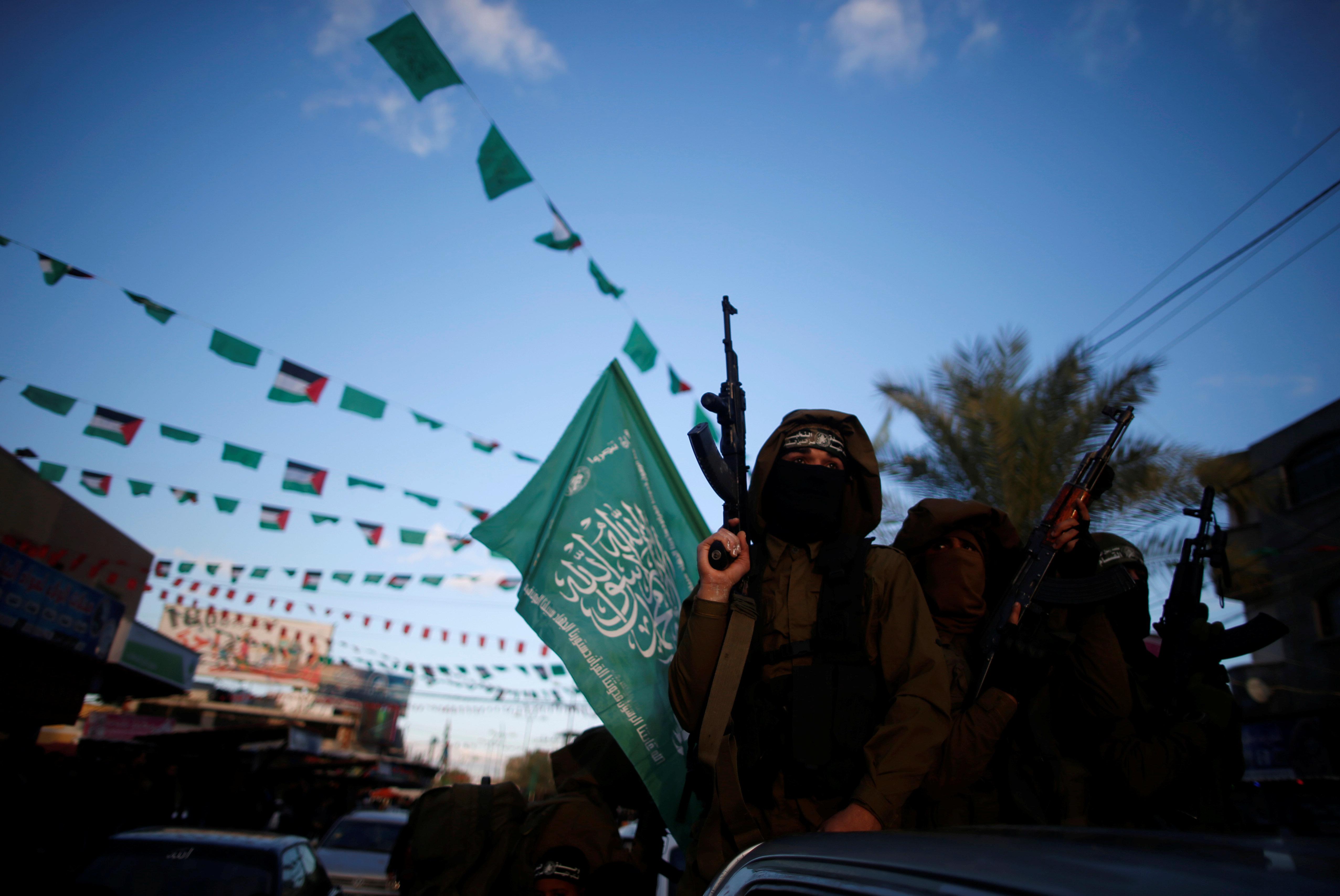 Hamas militants participate in a protest on Dec. 7, 2017 against U.S. President Donald Trump's decision to recognize Jerusale