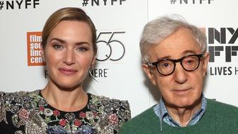 NEW YORK, NY - OCTOBER 14:  (L-R) Justin Timberlake, Kate Winslet, Director Director Woody Allen, Juno Temple and Jim Belushi attend the NYFF premiere of 'Wonder Wheel' at Alice Tully Hall on October 14, 2017 in New York City.  (Photo by Todd Williamson/Getty Images for Amazon Studios)