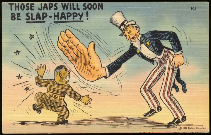 A postcard of Uncle Sam, slapping a Japanese soldier.