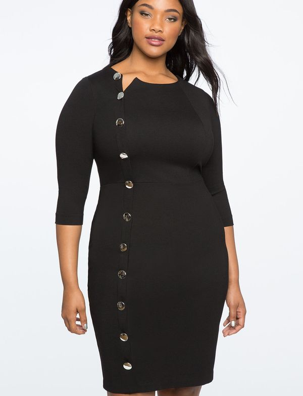 "<a href=""http://www.eloquii.com/side-button-ponte-sheath-dress/1245687.html?cgid=dresses&prefn1=colorFamily&dwvar_124"