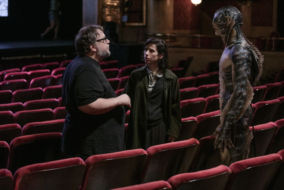"Guillermo del Toro directs Sally Hawkins and Doug Jones in ""The Shape of Water."""
