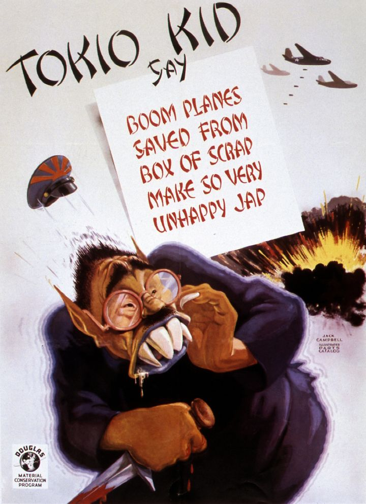 A poster used in the Douglas Aircraft Company factories after Pearl Harbor to help reduce waste.