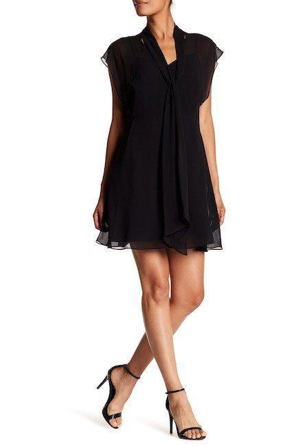 """<a href=""""https://www.nordstromrack.com/shop/product/2160785/haute-hippie-button-down-front-tie-dress?color=BLACK"""" target=""""_bl"""
