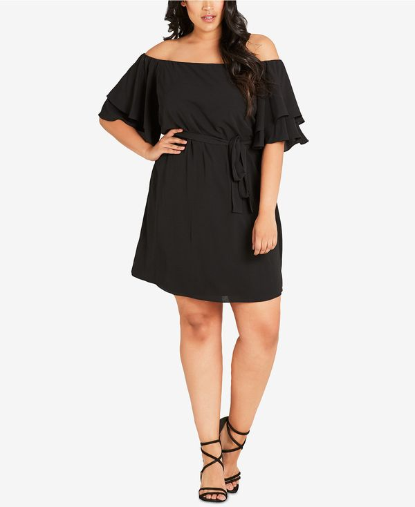 """<a href=""""https://www.macys.com/shop/product/city-chic-trendy-plus-size-off-the-shoulder-belted-dress?ID=4615238&CategoryI"""