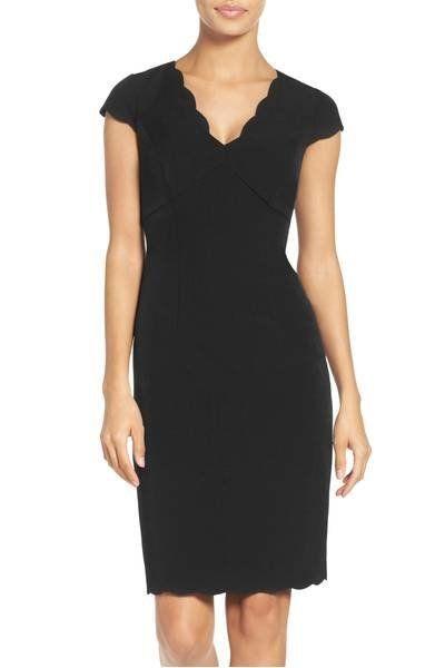 """<a href=""""https://shop.nordstrom.com/s/adrianna-papell-scalloped-crepe-sheath-dress-regular-petite/4014320?origin=category-per"""