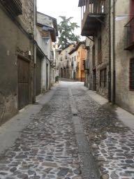 The narrow quiet streets of Villafranco in Bierzo, Spain