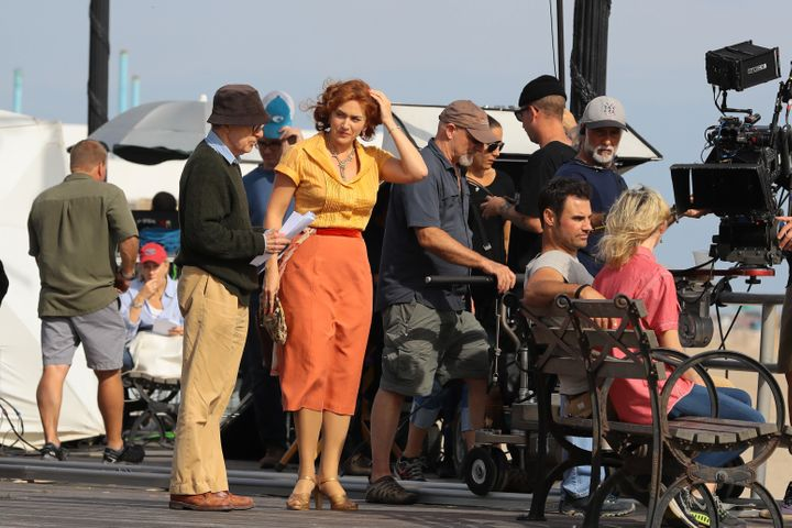 "Woody Allen and Kate Winslet on the set of ""Wonder Wheel"" on Sept. 27, 2016."