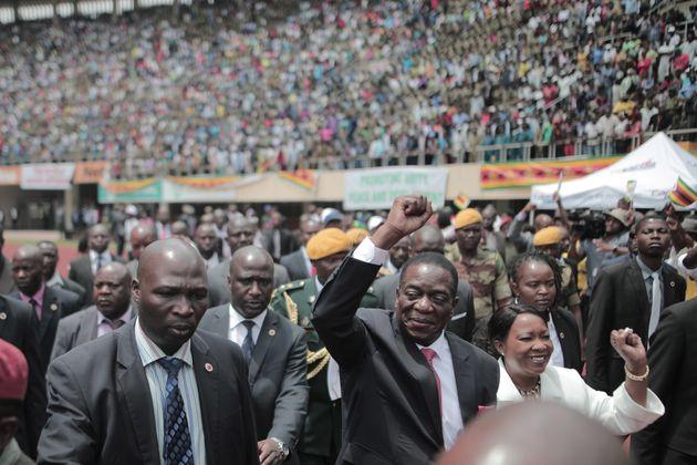 President EmmersonMnangagwa greets Zimbabweans during his inauguration ceremony on Nov. 24,