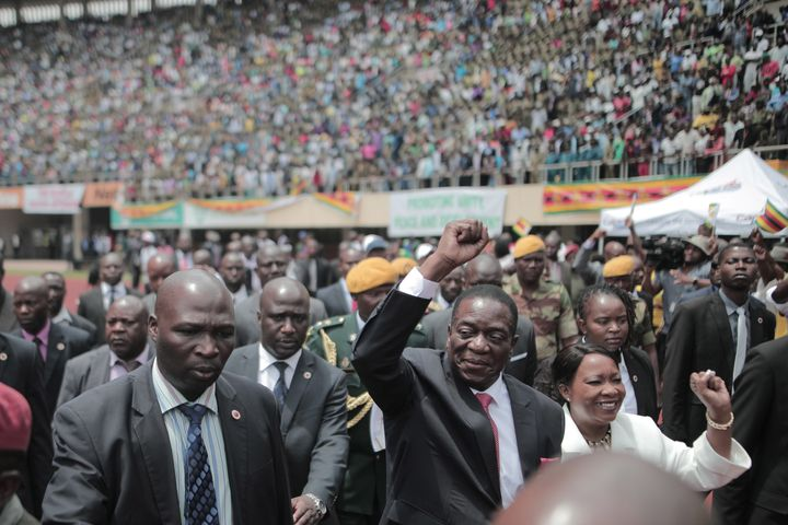 President Emmerson Mnangagwa greets Zimbabweans during his inauguration ceremony on Nov. 24, 2017.