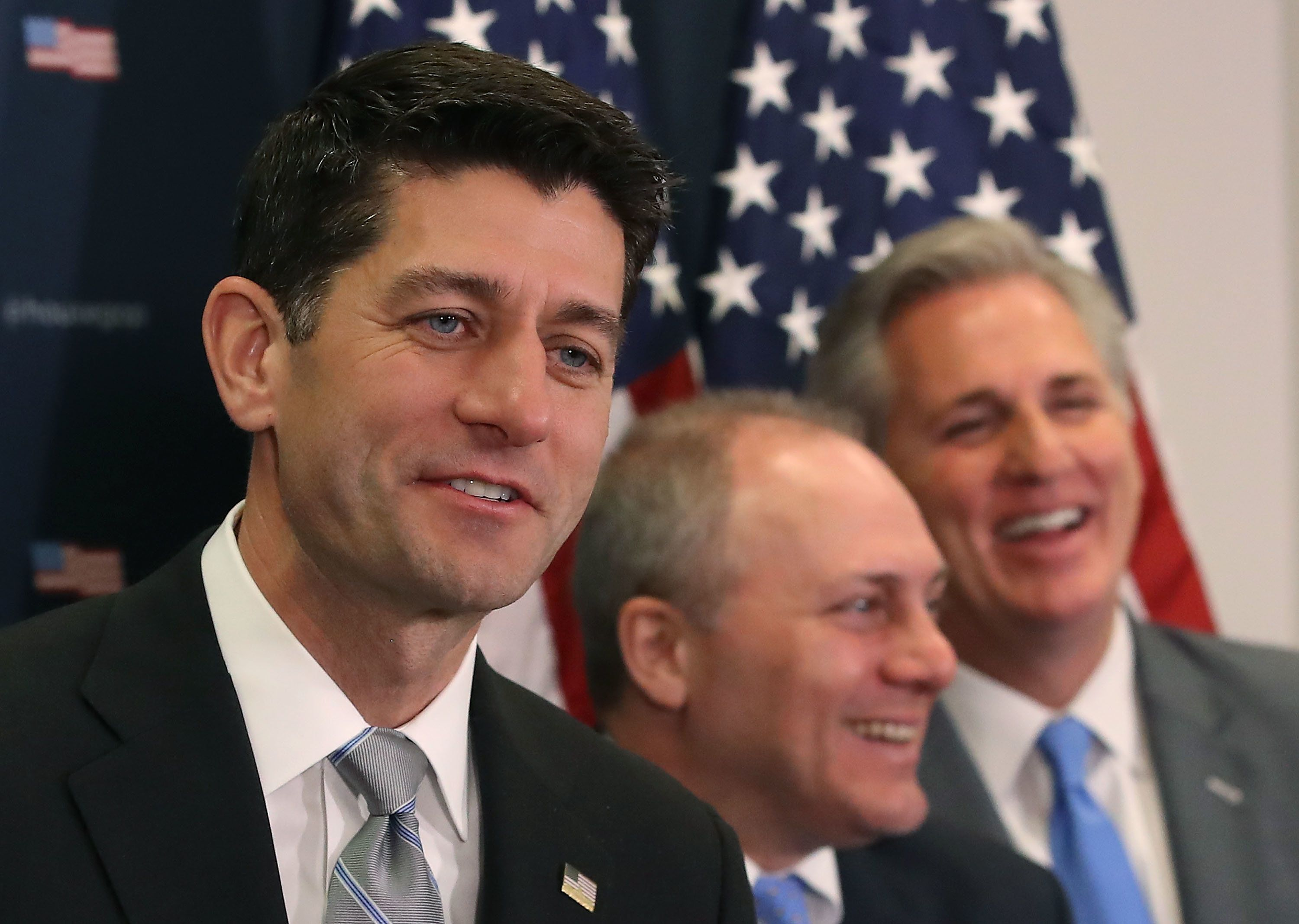 WASHINGTON, DC - DECEMBER 05: House Speaker Paul Ryan (R-WI) speaks while flanked by House Majority Whip, Steve Scalise (R-LA) (C) and House Majority Leader Kevin McCarthy (R-CA), during a news conference on Capitol Hill December 5, 2017 in Washington, DC. Speaker Ryan spoke about progress in the tax reform legislation that is currently in conference committee.   (Photo by Mark Wilson/Getty Images)