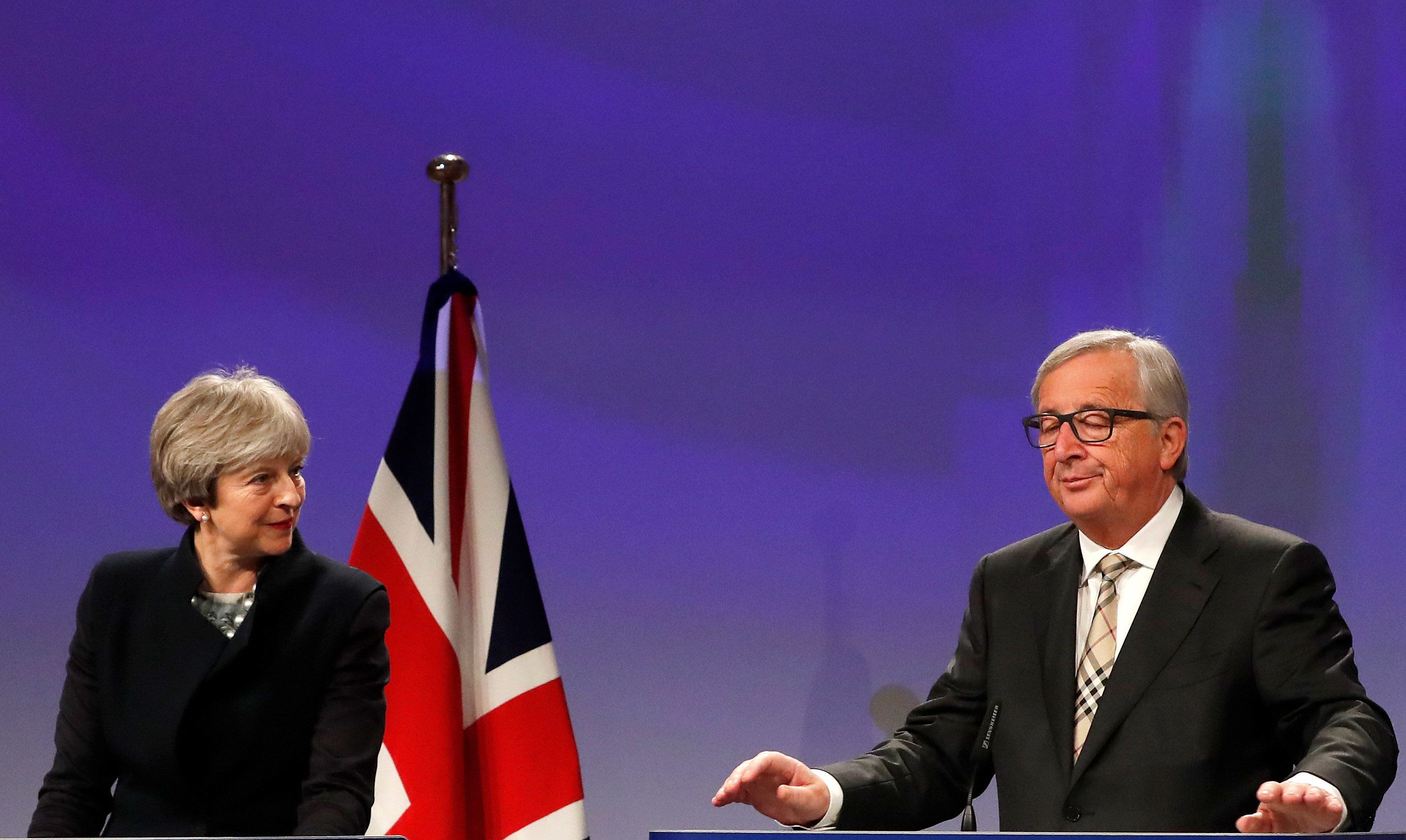 <strong>Theresa May and European Commission President Jean-Claude Juncker earlier this week.</strong>