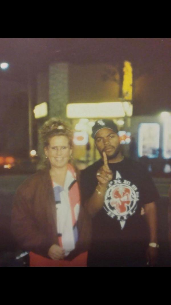 """""""This was 1992. My mom Linda says she was in Hollywood and passed Ice Cube on the street andhad the pic taken. I love t"""