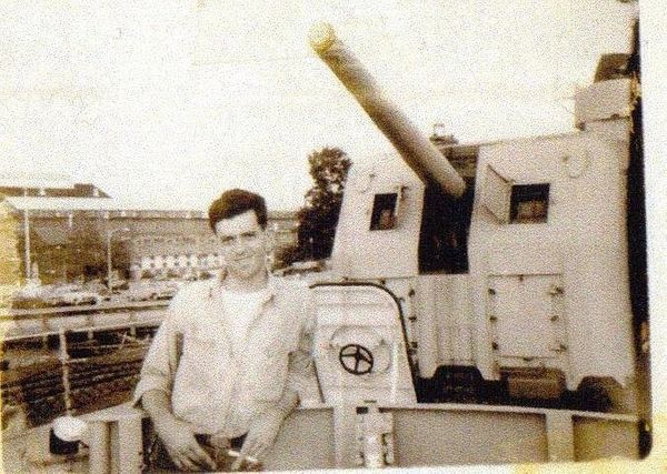 """""""This is a photo of my dad Albert Twaddell -- aka Butch Twaddell -- working in the naval yards in Washington, D.C., dur"""
