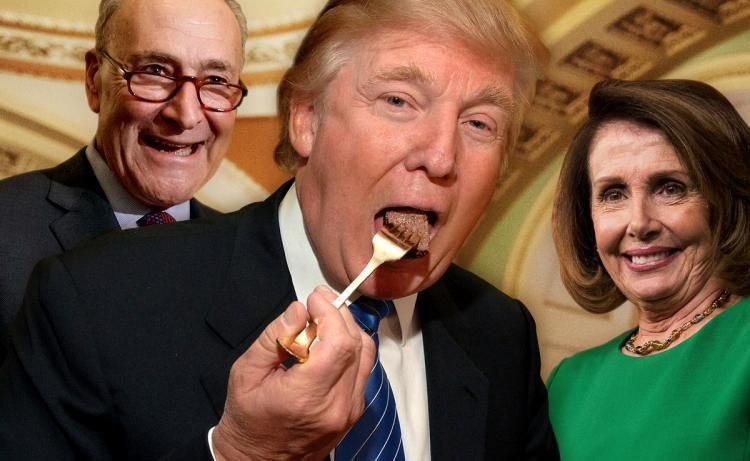 <em>Trump eats cake while Chuck Schumer and Nancy Pelosi watch and smile.</em>