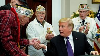 Donald Trump talks to Pearl Harbor vets