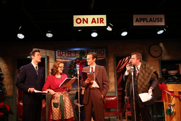 Ian Holcomb, Orlagh Cassidy, Aaron Gaines, and Dewey Caddell in <em>It&#39;s a Wonderful Life: The 1946 Live Radio Play.</em>