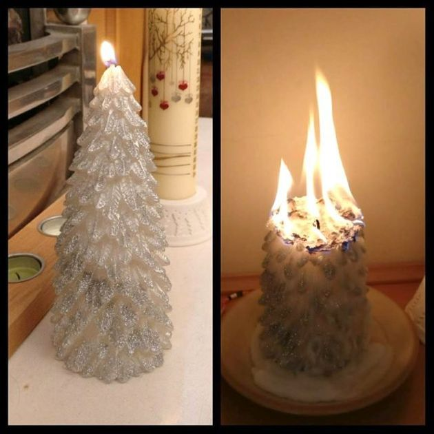 Picture of Primark Christmas candle burning into large flame goes viral