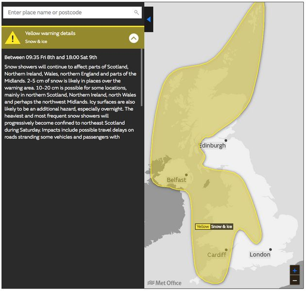 A yellow ice and snow warning from Friday to
