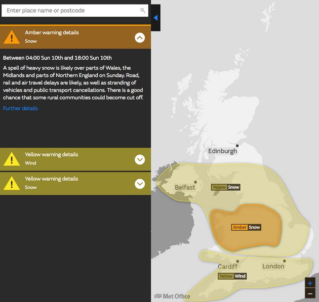 Yellow and amber weather warnings have been issued for