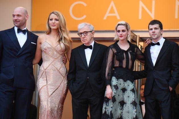 Corey Stoll, Blake Lively, Woody Allen, Kristen Stewart and Jesse Eisenberg attend a screening of
