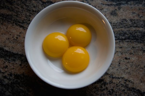 Every recipe uses a different number of egg yolks, but they are always present -- usually around four yolks per quart of fini