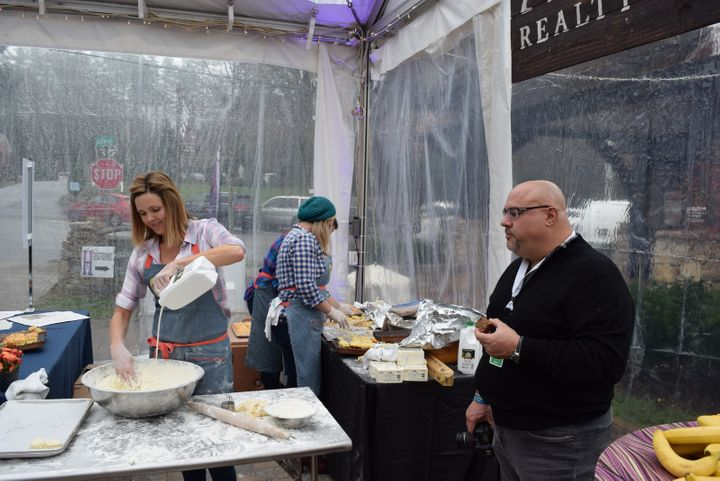 <p>Carrie Morey of Callie's Hot Little Biscuit (Charleston, SC) makes another batch of goodness while Richard Gruica of Captivating Croatia approves.</p>