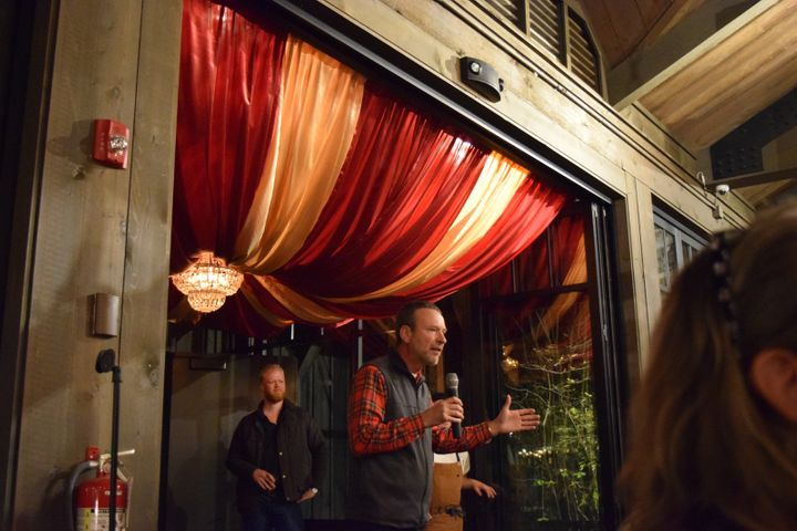 <p>Don Carringer of Carringer Farms entertains the crowd with tales of potatoes.</p>