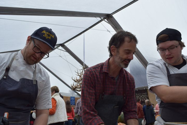 <p>Chef Steven Satterfield and crew (Miller Union, Atlanta, GA) on a foggy morning at the 2017 Highlands Food & Wine Festival. His pumpkin dutch baby was my favorite on this foggy morning's Sunday Brunch.</p>