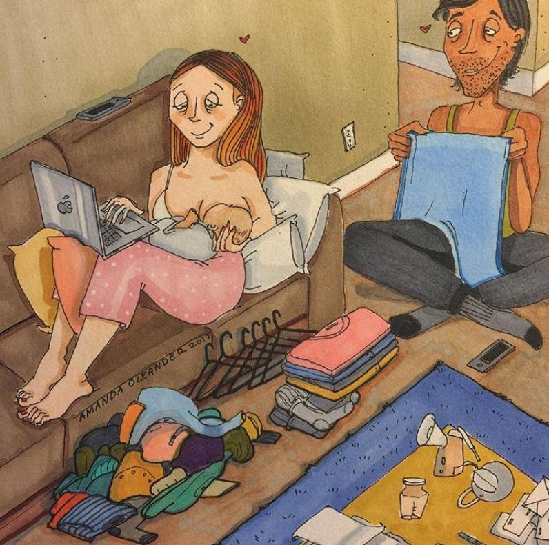 Esses desenhos foram inspirados na amiga da artista, que teve um bebê