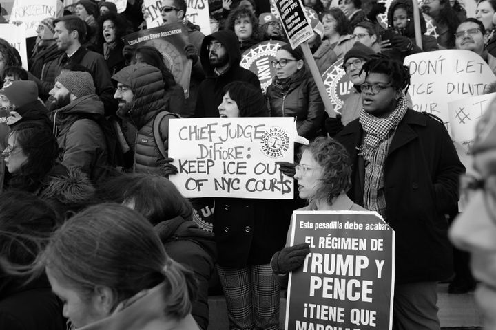 Hundreds of lawyers and public defenders gathered in Brooklyn on December 7, 2017, to demand that ICE be barred from New York