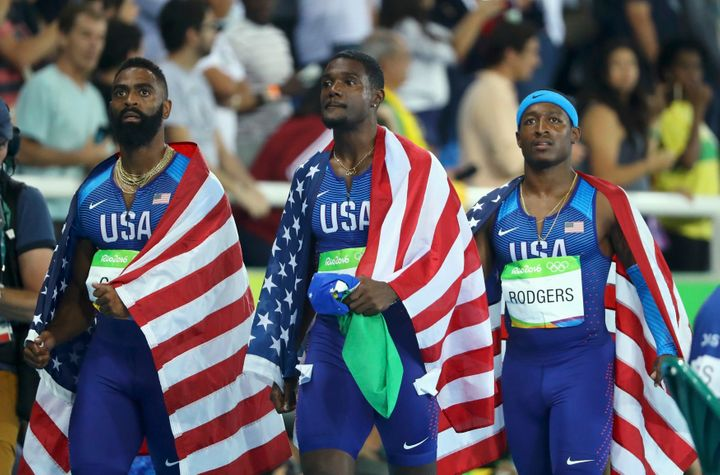 Tyson Gay (left) and Justin Gatlin (center) competed for the U.S. in the Rio Games even after serving doping suspensions.