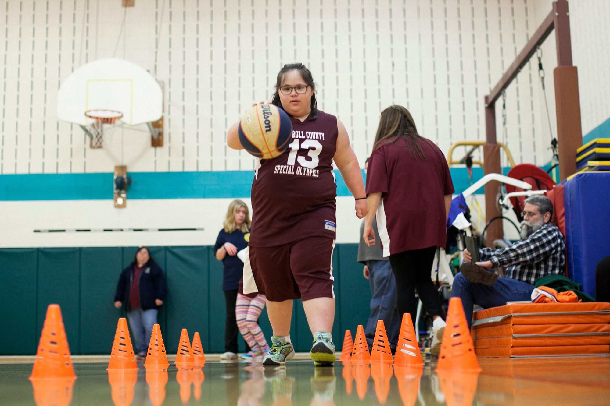 Rebecca Guldan, 14, concentrates on a basketball drill during practice at Carroll Springs School in Westminster, Md., on Wednesday, Dec. 6, 2017.