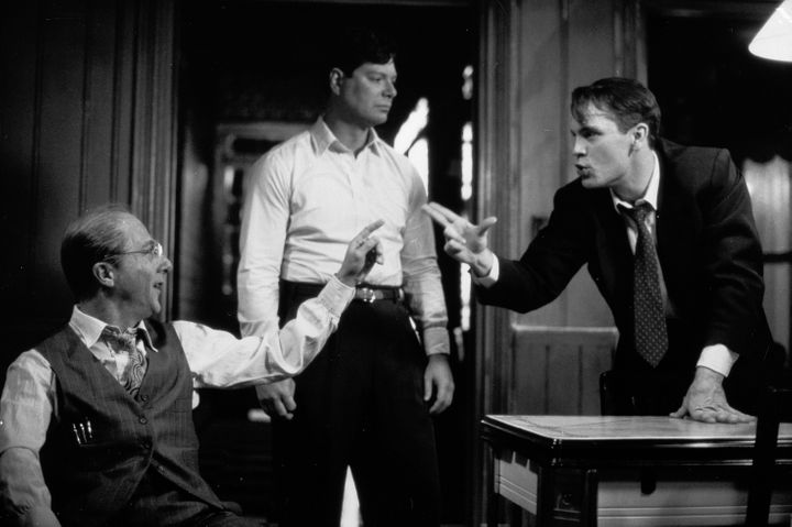 "Dustin Hoffman, Stephen Lang and John Malkovich in a photo for the TV version of ""Death of a Salesman"" in 1985."