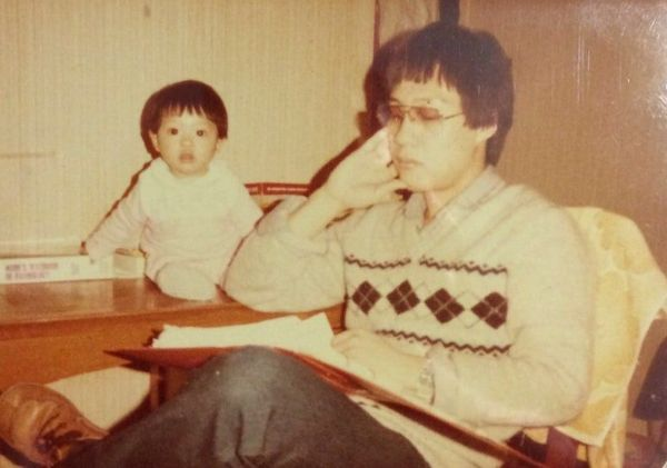 """""""My dad Peteris 21 here, studying for his medical degree whilst looking after me. The pic was taken in 1984 in Cork, Ir"""