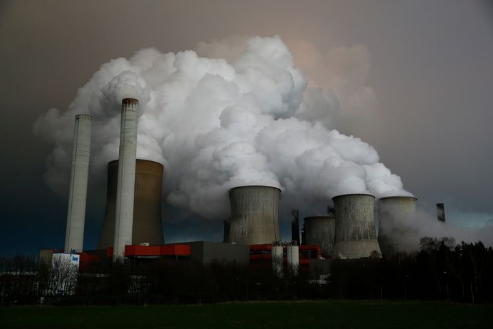 Steam rises from an RWE coal power plant in Niederaussem, Germany, in March 2016.