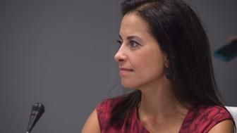 Goldman Sachs Foundation, and global head of corporate engagement, Dina Powell attends  the CEO Roundtable on the sidelines of the 71st session of the United Nations General Assembly in New York on September 20, 2016 in New York. / AFP / JIM WATSON        (Photo credit should read JIM WATSON/AFP/Getty Images)