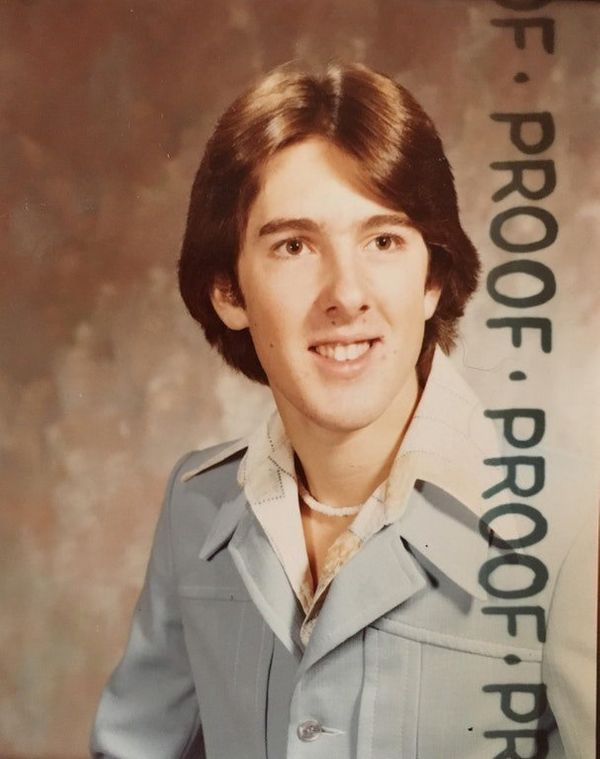 """""""This photo of my dad Marc was taken in approximately 1975 for his 8th grade dance. My dad would always tell my brothers and"""