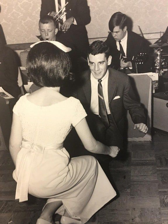 """""""My parents Dee and Mike doing 'The Twist' at myAunt Kathleen's wedding in 1965. They've so young and having a blast! M"""