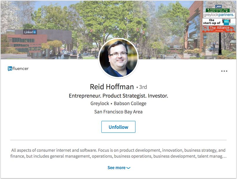 Reid Hoffman's regular Linkedin profile