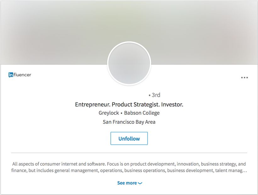 Reid Hoffman's Linkedin profile with the Unbiasify name and photo filter turned on