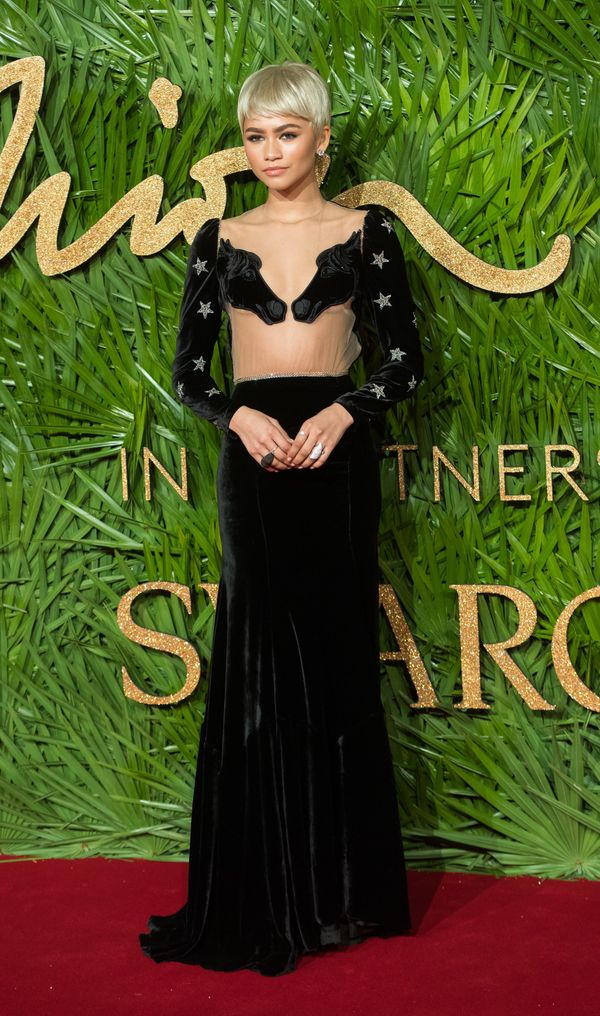 Zendaya sported this equestrian-themed gown to the Fashion Awards in London last week. And yes, those are horses on her chest