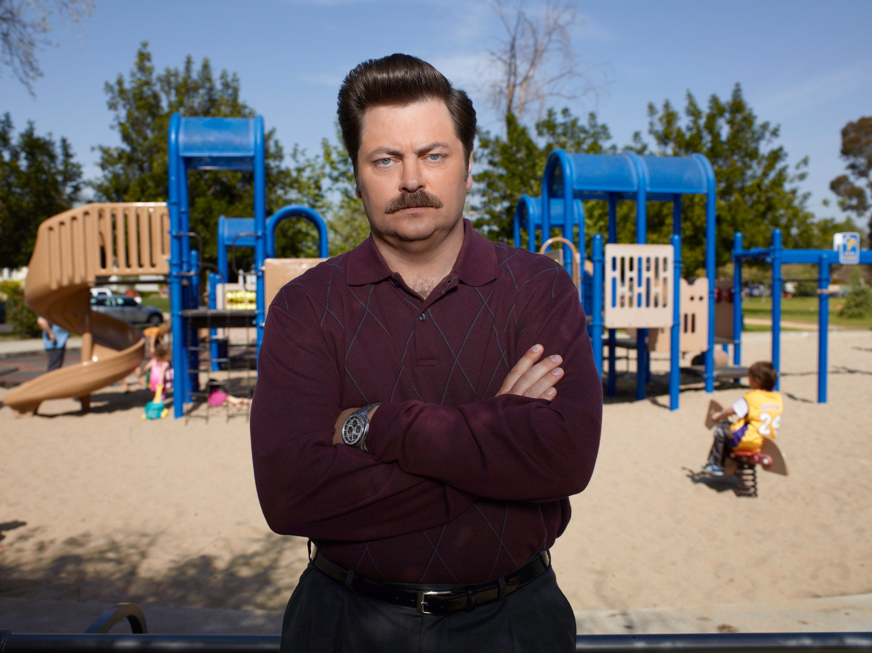 PARKS AND RECREATION -- Season: 3 -- Pictured: Nick Offerman as Ron Swanson -- Photo by: Mitchell Haaseth/NBC