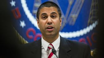 Ajit Pai, chairman of the Federal Communications Commission (FCC), speaks during an open meeting in Washington, D.C., U.S., on Thursday, Nov. 16, 2017. The FCC plans to vote in December to kill the net neutrality rules passed during the Obama era. Photographer: Zach Gibson/Bloomberg via Getty Images