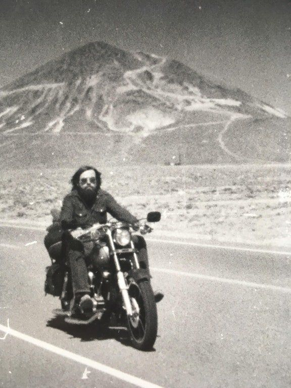 """""""This is a pic of my dad Bob Haak around 1975 somewhere in western Nevada along Highway 95, where we are from. I love this pi"""