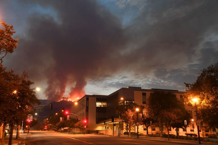 The La Tuna fire burns above downtown Burbank, California, on Sept. 3, 2017.