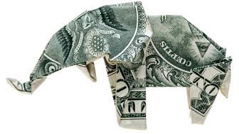 Origami dollar elephant isolated on white